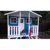 Domek ogrodowy dla dzieci 4IQ Gucio drewniany ze ślizgiem i tarasem zdjęcie 3