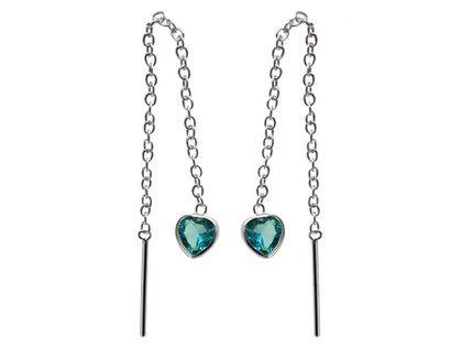 Delikatne przewlekane srebrne wiszące serca serduszka heart błękitne cyrkonie srebro 925 K2164