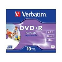 DVD+R Verbatim 4.7GB X16 printable (10 Jewel Case)
