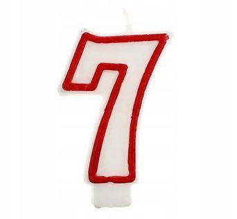 Świeczka na tort cyfra 7 i cyfry od 1 do 9 i 0