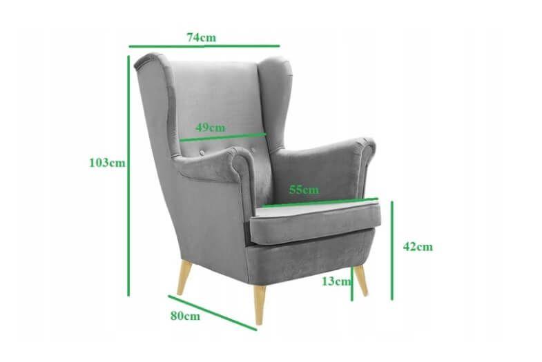 Fotel tapicerowany USZAK skandynawski pikowany SZYBKA DOSTAWA kolory zdjęcie 5