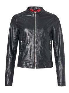 SAKI DINA 53 cm - Czarna kurtka ze skóry jagnięcej, SUPER CENA ostatnia sztuka 38