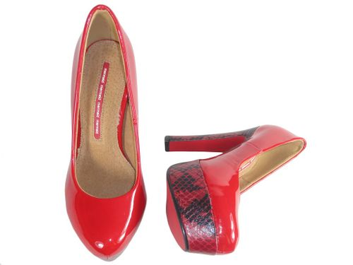 Czerwone szpilki na platformie buty na słupku 37 na Arena.pl