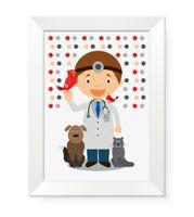 Nowoczesny obraz dla dziecka dzieci na ścianę w ramce WETERYNARZ