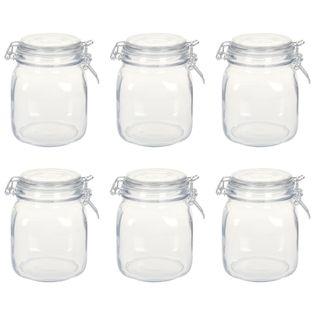 Szklane słoiki z zamknięciem, 6 szt.,1 L