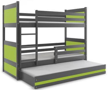 Łóżko meble dla dzieci MATEUSZ 160x80 piętrowe 3 osobowe + BARIERKA