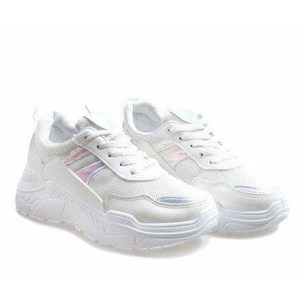 Białe modne obuwie sportowe LL1743