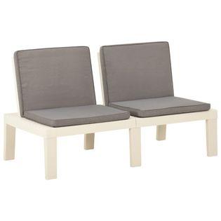 Lumarko Ławka ogrodowa z poduszką, plastikowa, biała;