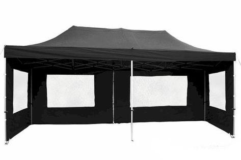 Namiot ogrodowy 3x6 m automatyczny, czarny pawilon handlowy