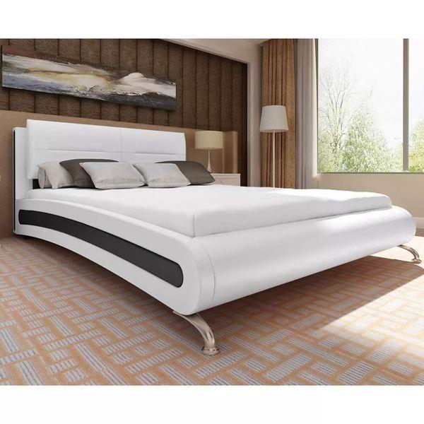 Rama łóżka łóżko Skórzane Z Materacem 140x200cm Biało Czarne Do Sypialni