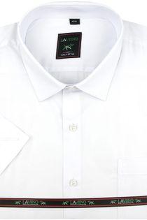 Koszula Męska Laviino gładka biała na krótki rękaw w kroju REGULAR K941 L 40 176/182