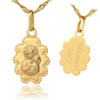 Złoty MEDALIK 585 PREZENT CHRZEST łańcuszek GRAWER