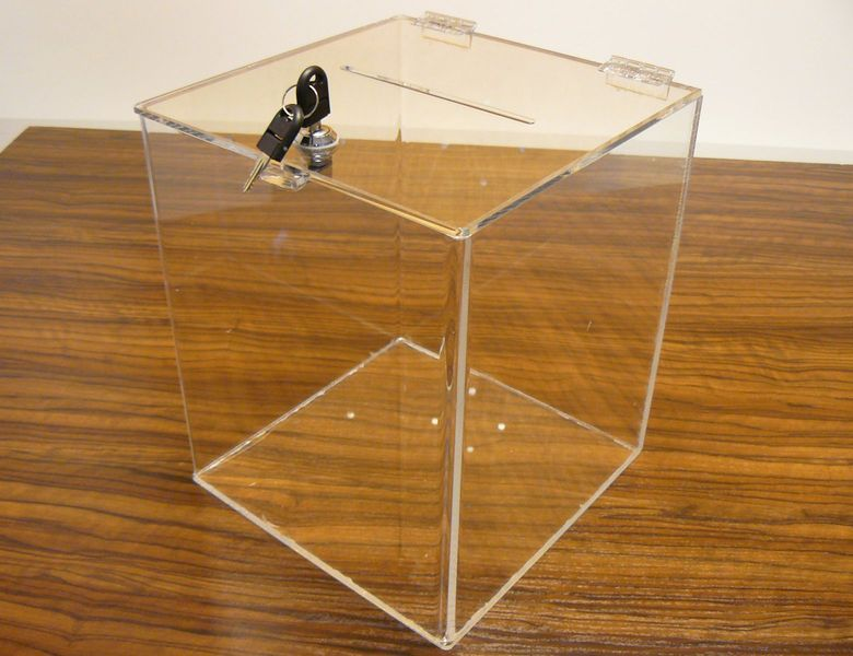 Urna skarbonka puszka skrzynka z plexi przeźroczystej 30x30x40 cm zdjęcie 1