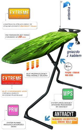 Deska do prasowania Black Extreme z możliwością prasowania na siedząco i potężną konstrukcją - pokrowiec Zielona Trawa na Arena.pl
