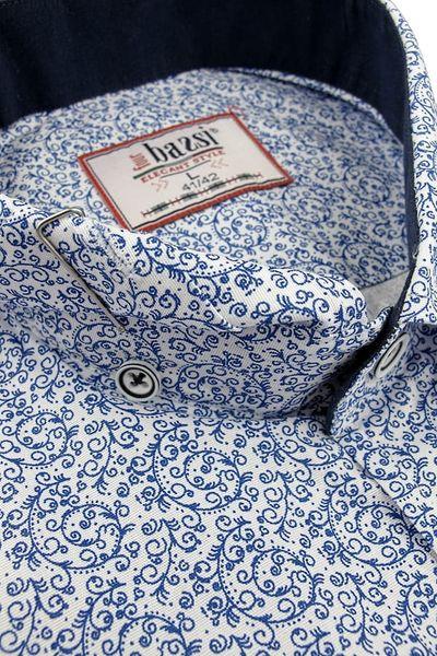 5a40102a182303 Koszula Męska Bassi biała/niebieska we wzorki SLIM FIT na długi rękaw A087  - 43