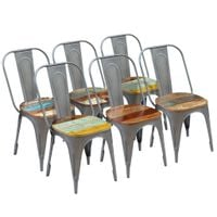 Krzesła stołowe, 6 szt., lite drewno z odzysku