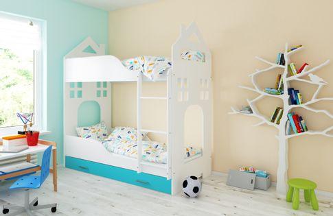 Łóżko piętrowe DOMEK 160x80 + 2 materace piankowe + pojemna szuflada