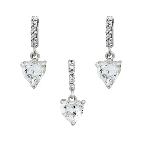 INGRID Komplet srebrnej biżuterii z cyrkoniami serca zdjęcie 1