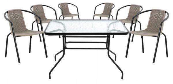 Zestaw Mebli Ogrodowych Stolik + 6x Krzesło Patio Komplet