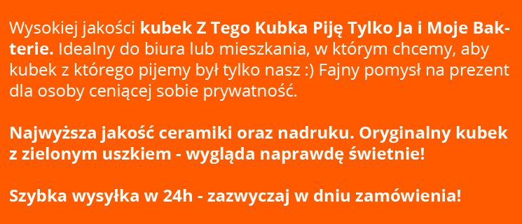 Kubek Z TEGO KUBKA PIJĘ JA I MOJE BAKTERIE Prezent, do domu i biura zdjęcie 5