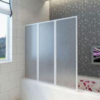 Kabina Prysznicowa Ścienna, Parawan 3 Składane Panele 117X120 Cm