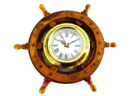 Zegar marynistyczny w drewnianym kole sterowym WC65