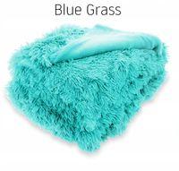 Puchata narzuta koc ELMO 200x220 WŁOCHATY GRUBY PLED BLUE GRASS
