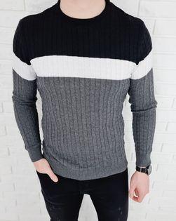 Trojkolorowy sweter meski 3629 Antracit - L