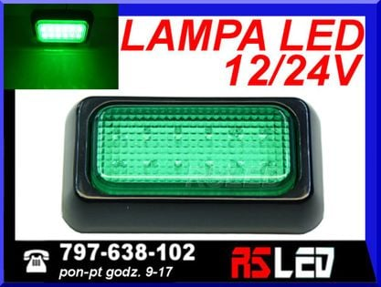 Lampa 12 LED 10x6 cm sygnalizacyjna kontrolka 12v 24v ZIELONA przemysł