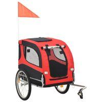 Przyczepka rowerowa dla psa, czerwono-czarna