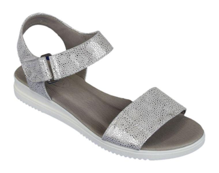 Sandały damskie skórzane Edeo 2343 H3 biało srebrne R.36