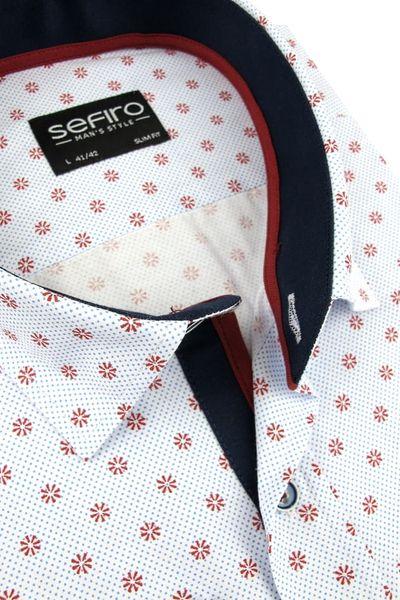 Koszula Męska Sefiro biała w czerwone kwiatki SLIM FIT na