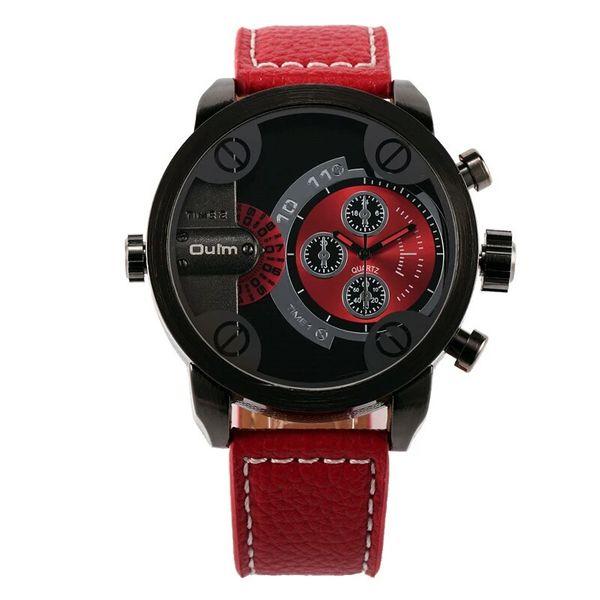 Zegarek męski Oulm 3130 wodoszczelny, czarny, czerwony, skórzany pasek zdjęcie 4
