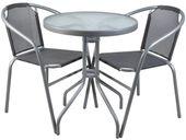 Meble Ogrodowe Balkonowe 2 Krzesła Szklany Stół 6121