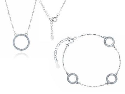 Elegancki rodowany srebrny komplet celebrytka kółka circle ring białe cyrkonie srebro 925 Z1461Z2R_W
