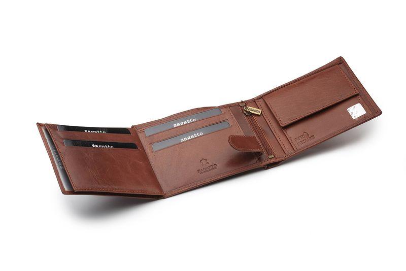 4479424921168d Portfel skórzany męski Zagatto z ochroną kart RFID BLOCK N992L GT zdjęcie 3