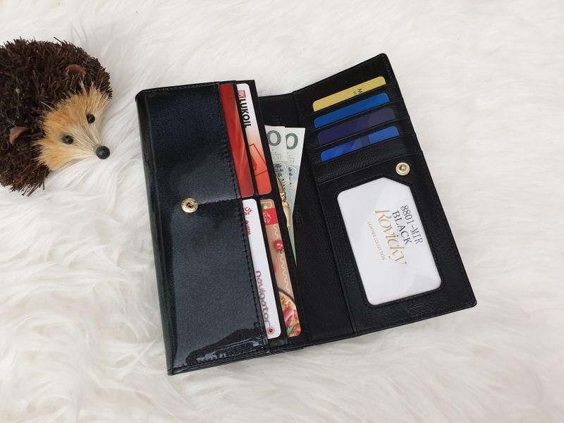 ROVICKY portfel skórzany damski lakierowany RFID P085 czarny zdjęcie 2