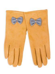 Rękawiczki dziewczęce zamszowe musztardowe skórzana kokardka 21