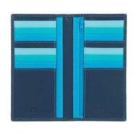 Skórzany portfel damski typu etui na karty DuDu®, 534-1719 niebieski z kolorowym środkiem
