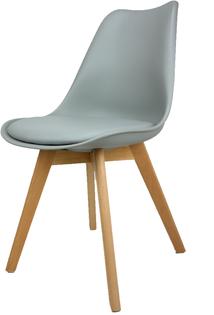 Skandynawskie krzesło KRIS FIORD z poduszką szare BUKOWE NOGI
