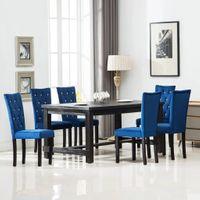Krzesła stołowe 6 szt. granatowe aksamitne VidaXL