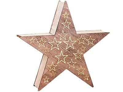 Ozdoba drewniana gwiazda LED 1j 35cm zdjęcie 1
