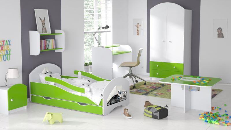 Łóżko dziecięce 140x70 biało-zielone/limonkowe materac gratis zdjęcie 9