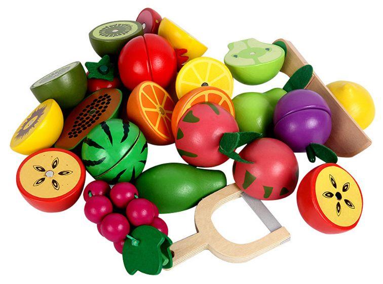 Kuchnia Drewniana Dla Dzieci Garnki Akcesoria Owoce Magnetyczne U46U zdjęcie 10