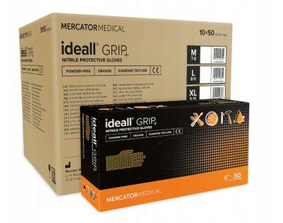 Rękawice nitrylowe ideall GRIP+ orange XL  karton 10 x 50 szt