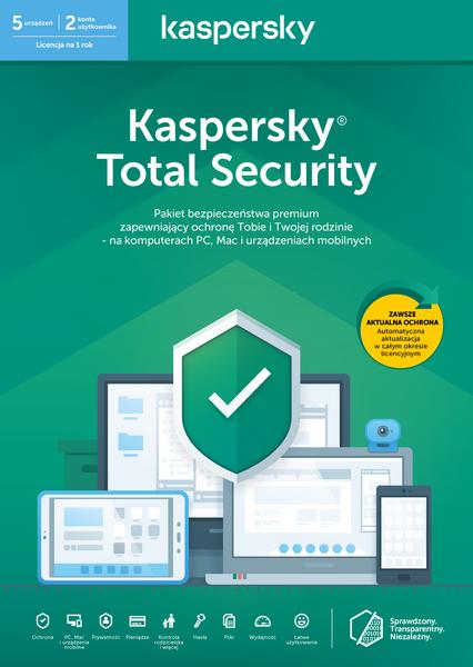 Kaspersky Total Security 5 urządzeń 1 rok kontynuacja na Arena.pl