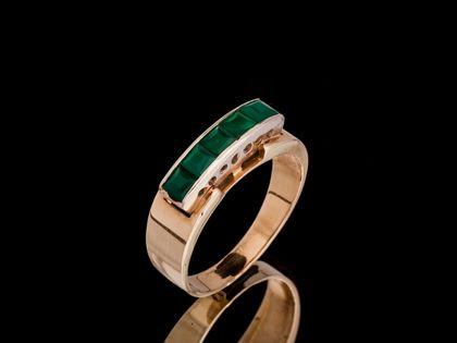 P318 Złoty pierścionek z Agatami /585