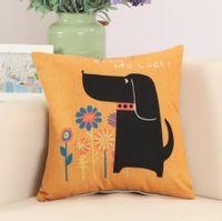 Poszewka na poduszkę ze zwierzątkami Piesek i kwiatki 45x45cm