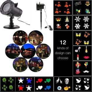 Projektor laserowy 12 motywów zewnętrzny święta itp