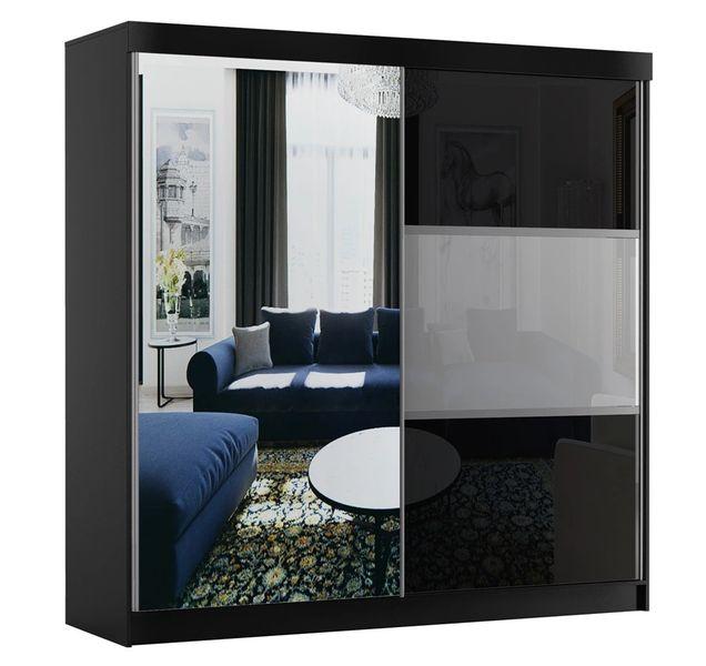 Szafa przesuwna 200cm RUN AR - Czarny Biały + lacobel + lustro zdjęcie 1